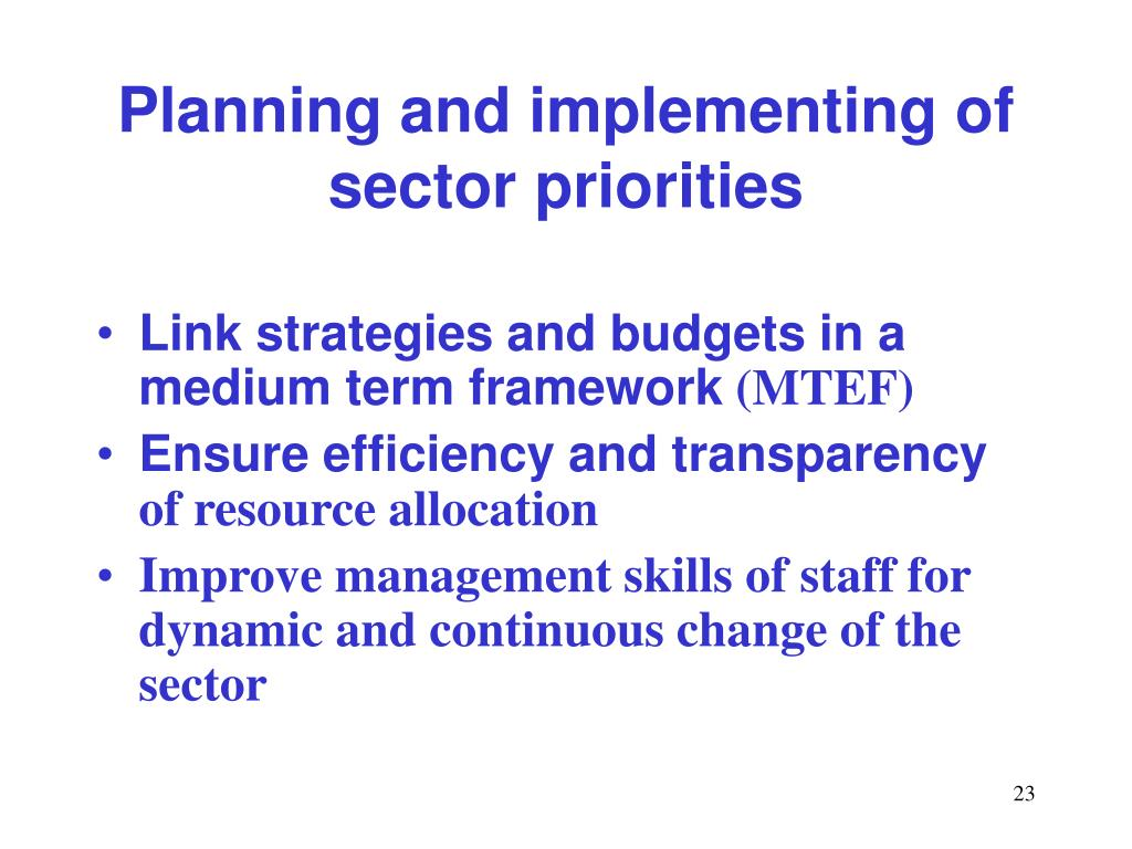 Planning and implementing of sector priorities