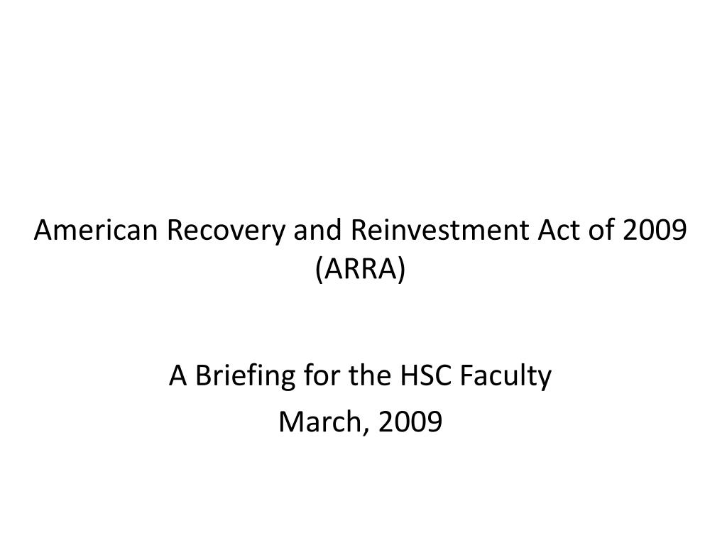 american recovery and reinvestment act of 2009 arra l.
