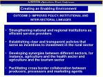 outcome 2 improved policy institutional and inter sectoral linkages