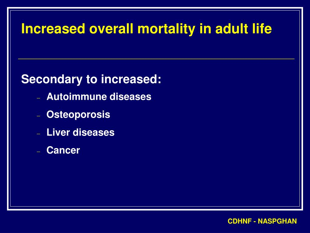Increased overall mortality in adult life