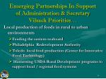emerging partnerships in support of administration secretary vilsack priorities
