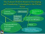 the federal crada model for developing and transferring technologies to the private sector