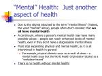 mental health just another aspect of health