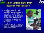 major contributions from research organizations