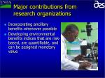 major contributions from research organizations9