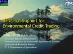 research support for environmental credit trading