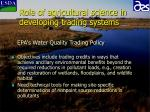 role of agricultural science in developing trading systems6