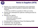 notice to suppliers nts
