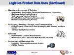 logistics product data uses continued