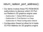 return radeon port address