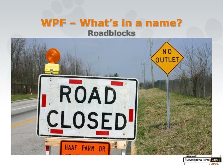 Wpf what s in a name roadblocks