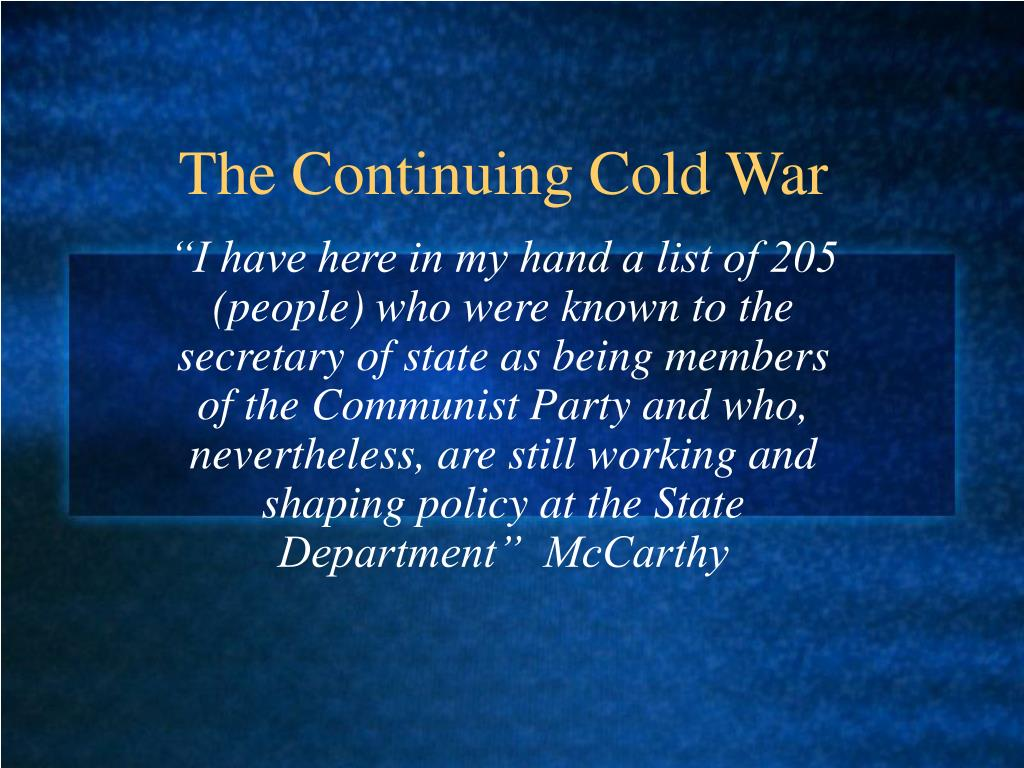 the continuing cold war l.