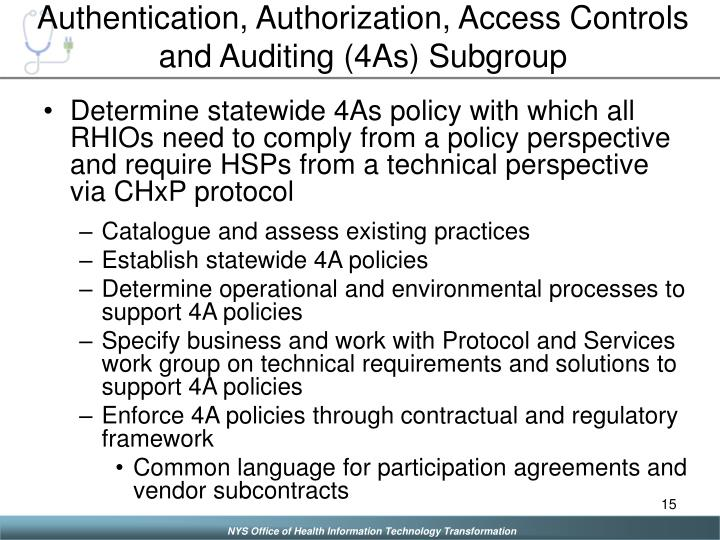 Authentication, Authorization, Access Controls and Auditing (4As) Subgroup
