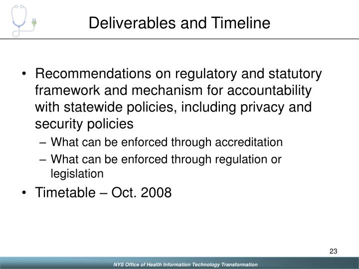 Deliverables and Timeline