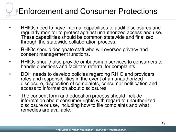 Enforcement and Consumer Protections