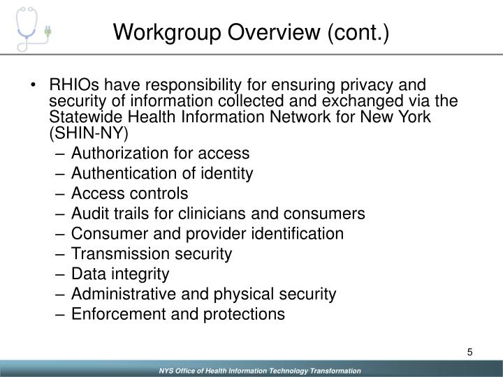 Workgroup Overview (cont.)