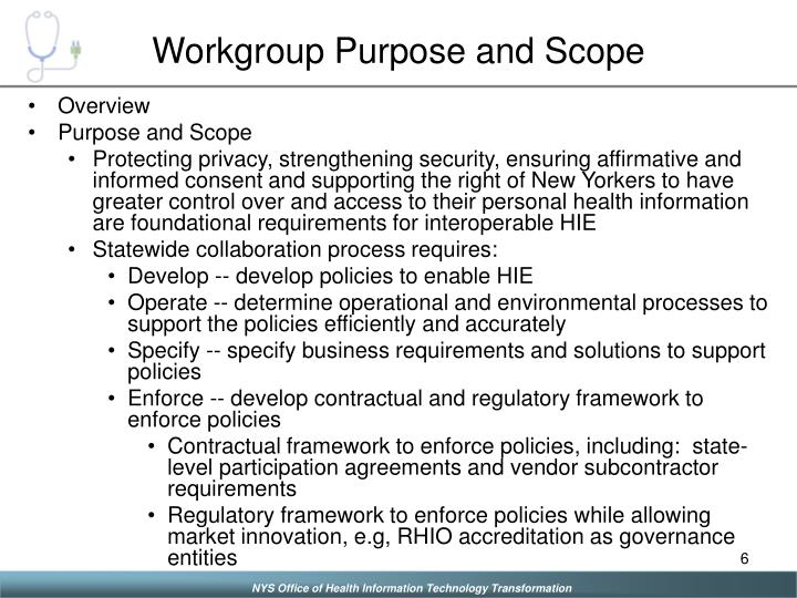 Workgroup Purpose and Scope
