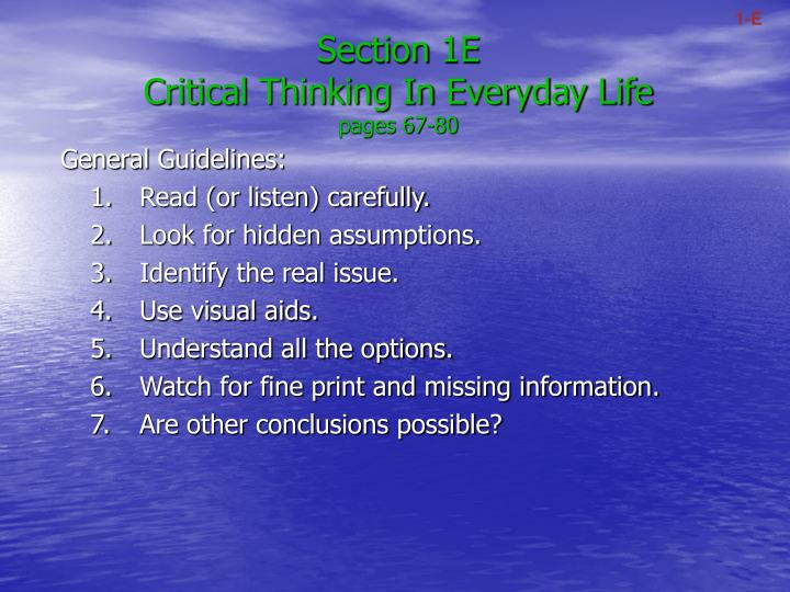 section 1e critical thinking in everyday life pages 67 80 n.