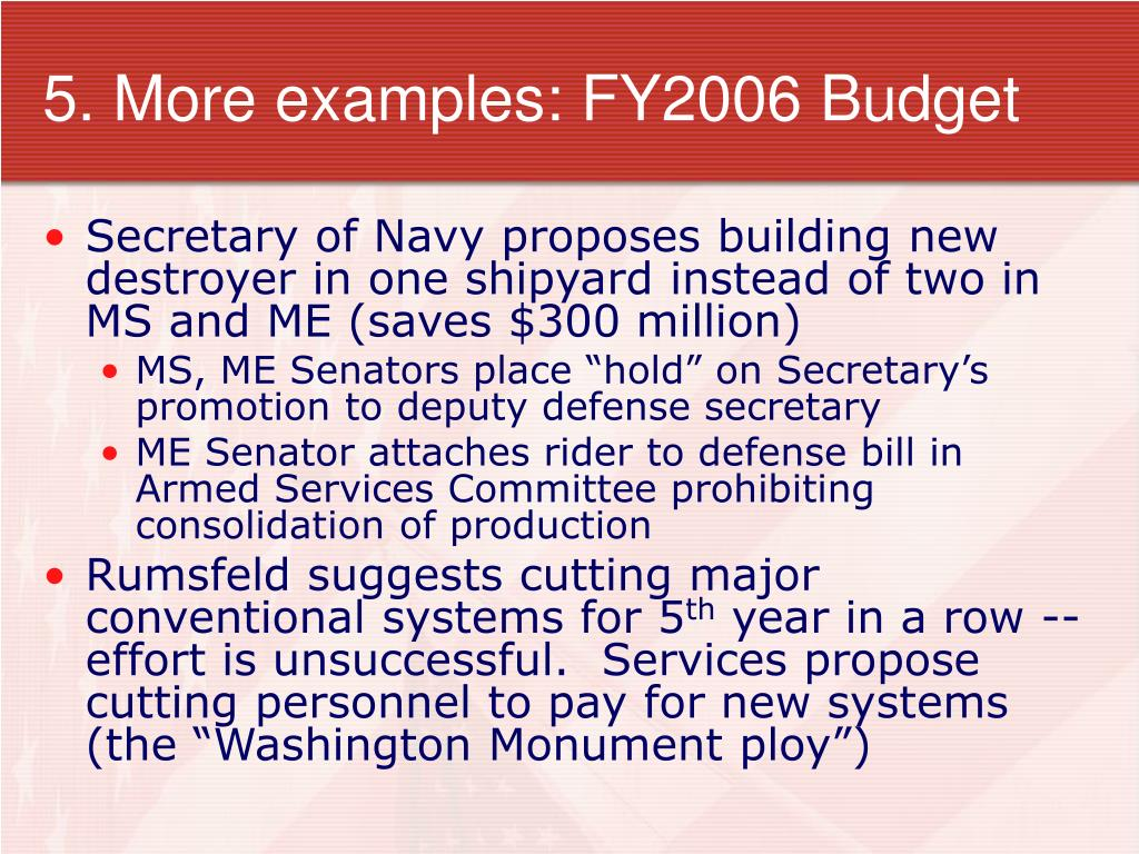 5. More examples: FY2006 Budget