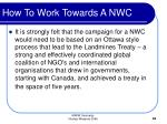 how to work towards a nwc