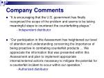 company comments
