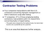 contractor testing problems