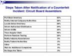 steps taken after notification of a counterfeit incident circuit board assemblers