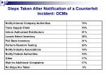 steps taken after notification of a counterfeit incident ocms