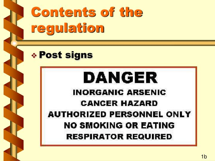 Contents of the regulation3