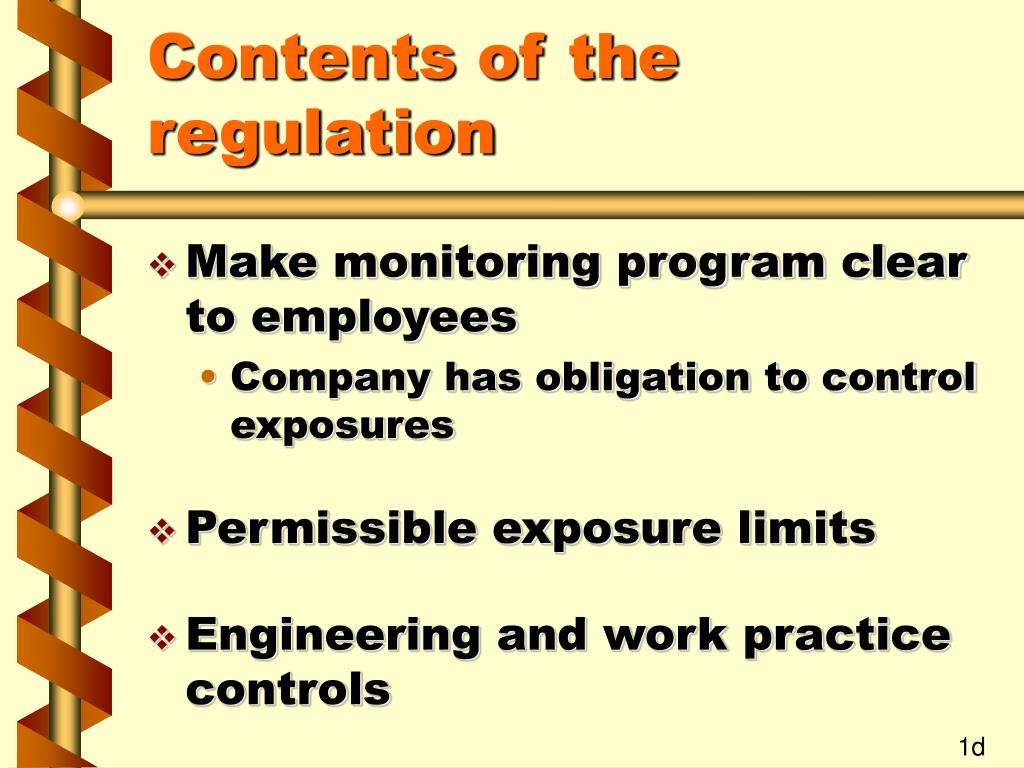 Contents of the regulation