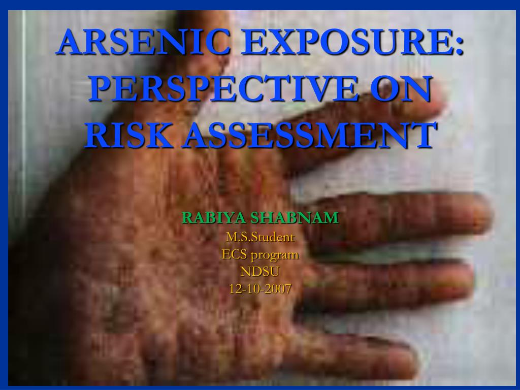 arsenic exposure perspective on risk assessment l.