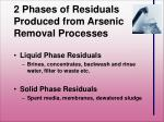 2 phases of residuals produced from arsenic removal processes