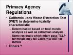 primacy agency regulations