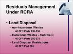 residuals management under rcra