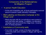 components of the multidisciplinary as mitigation program