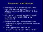 measurements of blood pressure