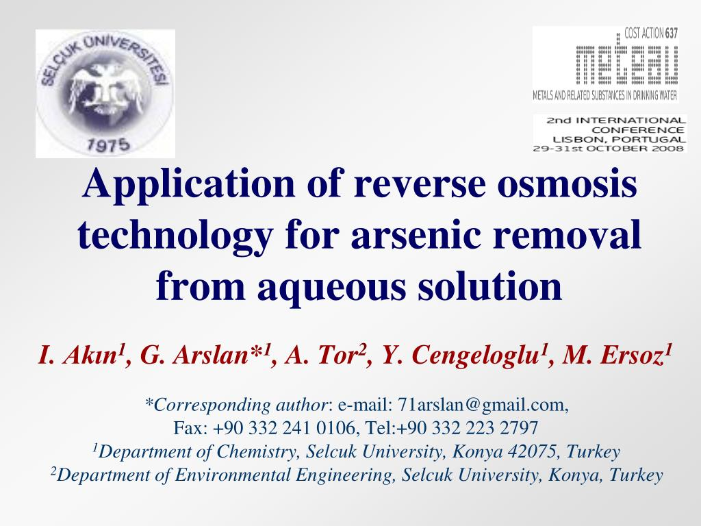 application of reverse osmosis technology for arsenic removal from aqueous solution l.