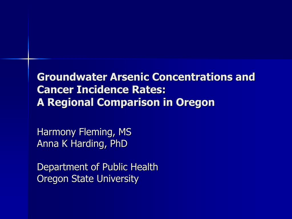 groundwater arsenic concentrations and cancer incidence rates a regional comparison in oregon l.