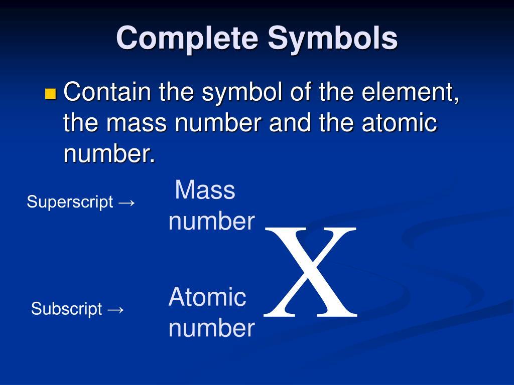 Complete Symbols