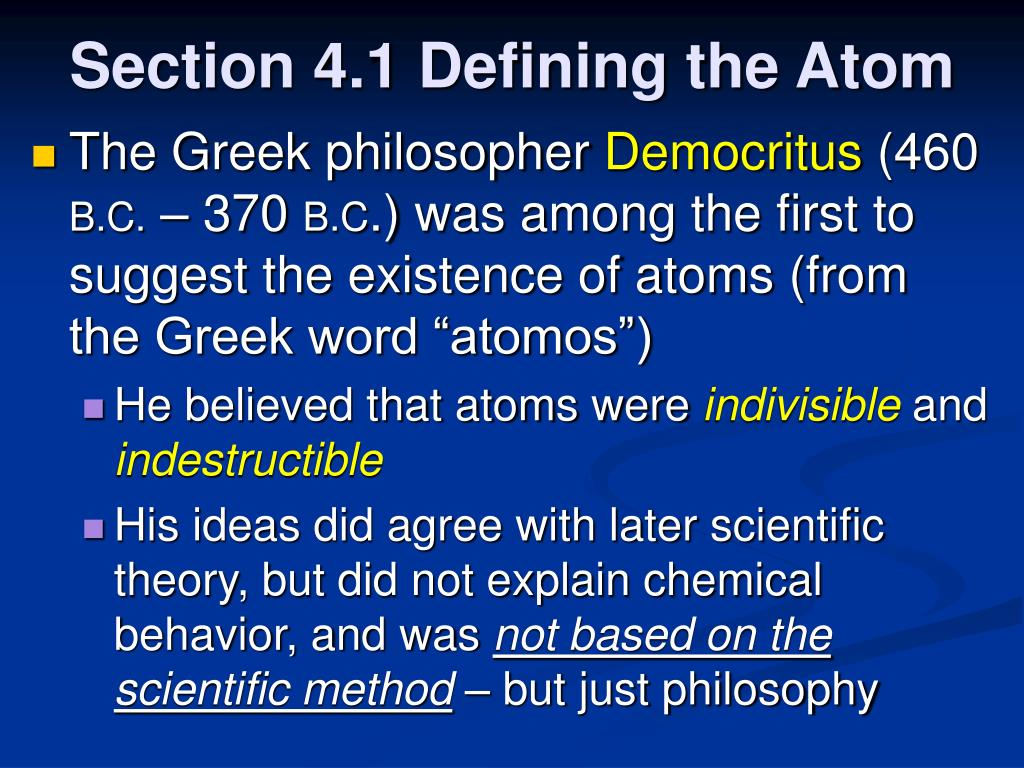 Section 4.1 Defining the Atom