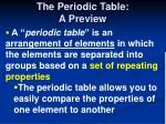 the periodic table a preview