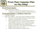 private water companies what are they doing