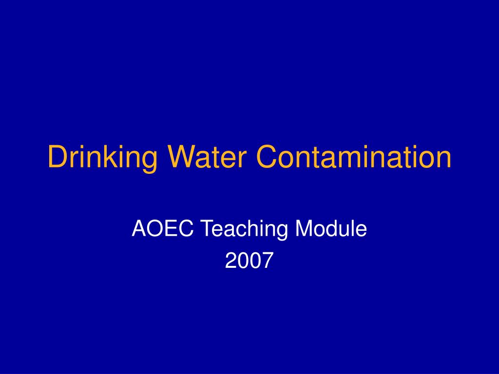 drinking water contamination l.