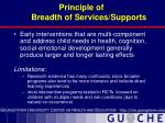 principle of breadth of services supports