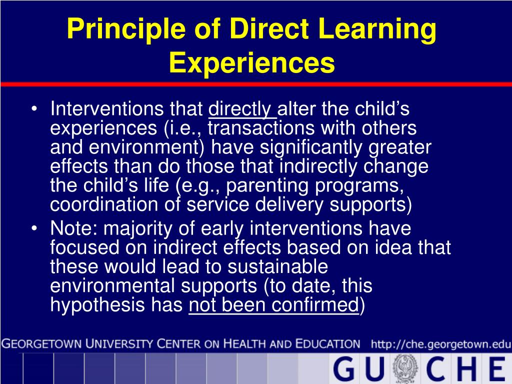 Principle of Direct Learning Experiences