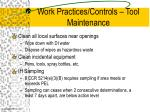 work practices controls tool maintenance19