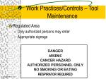 work practices controls tool maintenance20