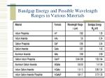 bandgap energy and possible wavelength ranges in various materials