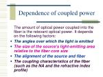 dependence of coupled power