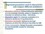 important parameters used to characterize and compare different modulators